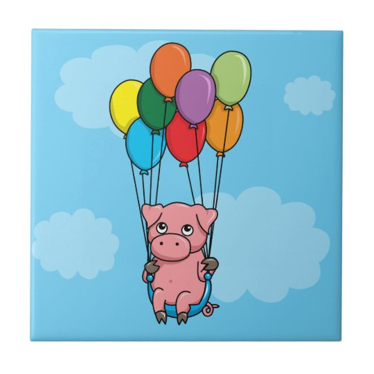 Flying Balloon Pig Small Square Tile