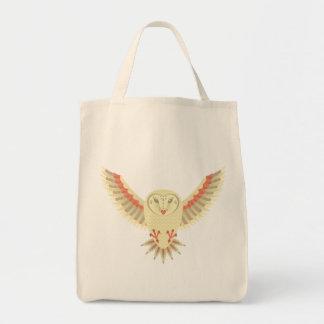 Flying Barn Owl Grocery Tote Bag