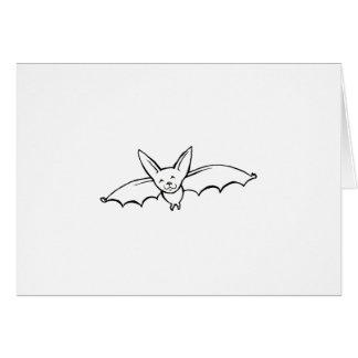 Flying Bat - fun original ink drawing sketch art Card