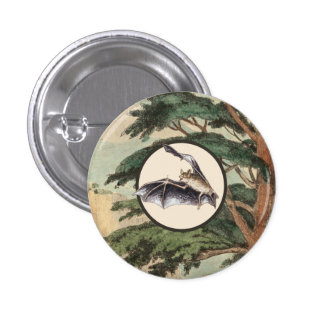 Flying Bat In Natural Habitat Illustration 3 Cm Round Badge