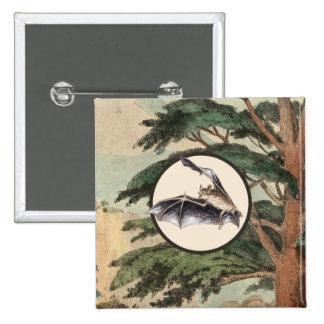 Flying Bat In Natural Habitat Illustration Button