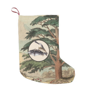 Flying Bat In Natural Habitat Illustration Small Christmas Stocking