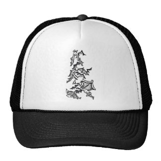 Flying Bats Back And White Drawing Cap