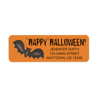 Flying Bats Black Orange Happy Halloween Custom Return Address Label