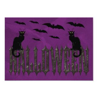 Flying Bats & Spooky Cats Halloween 13 Cm X 18 Cm Invitation Card