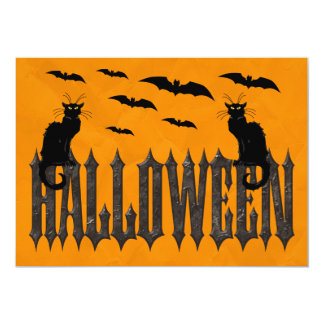 Flying Bats & Spooky Cats Halloween 13 Cm X 18 Cm Invitation Card