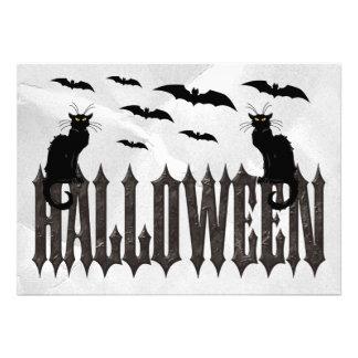 Flying Bats Spooky Cats Halloween Custom Invites