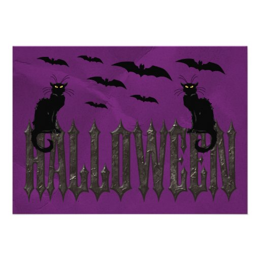 Flying Bats & Spooky Cats Halloween Personalized Announcements