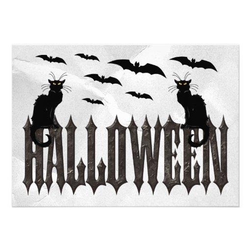 Flying Bats & Spooky Cats Halloween Custom Invites