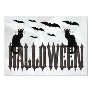 Flying Bats & Spooky Cats Halloween 5x7 Paper Invitation Card