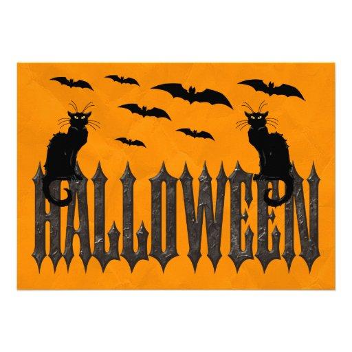 Flying Bats & Spooky Cats Halloween Invitations