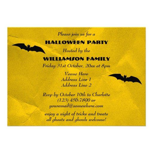 Flying Bats & Spooky Cats Halloween Custom Announcements