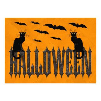 Flying Bats Spooky Cats Halloween Invitations