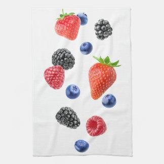 Flying berries tea towel