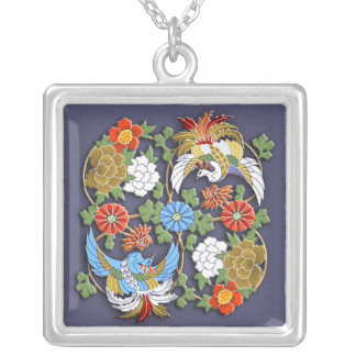 Flying birds and flowers silver plated necklace