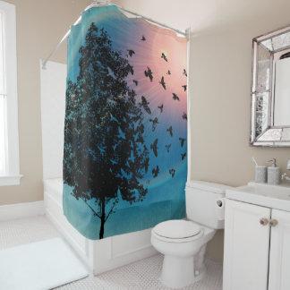 """Flying Birds""  tree sunset ""Shower Curtain "" Shower Curtain"