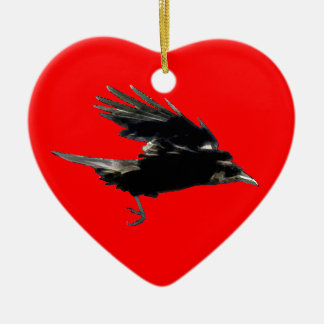 Flying Black Crow Art for Birdlovers Christmas Ornament