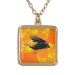 Flying Black Crow Art for Birdlovers Personalized Necklace