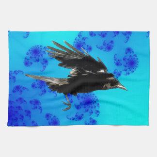 Flying Black Crow Art for Birdlovers Tea Towel