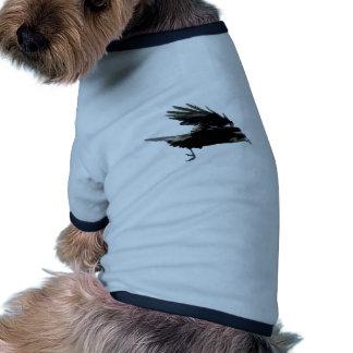 Flying Black Crow Wildlife Art Ringer Dog Shirt