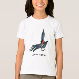 Flying Black Crow with little Girl  -  T-shirt
