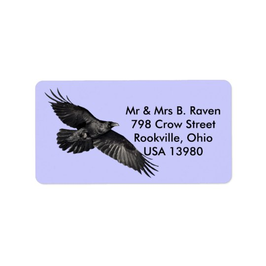 Flying Black Raven Bird-lover Labels