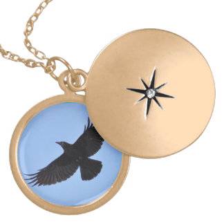 Flying Black Raven Corvid Crow-lover Photo Design Locket Necklace
