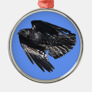 Flying Black Raven Crow-lover Photo Design 7 Silver-Colored Round Decoration