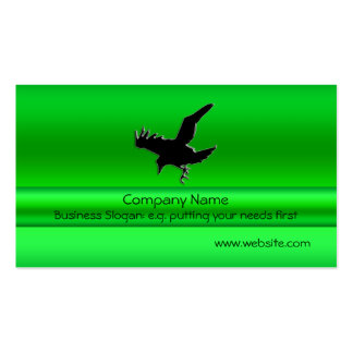 Flying Black Raven on green metallic-look effect Pack Of Standard Business Cards