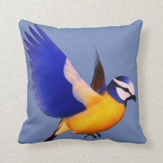 Flying blue and yellow finch cushion