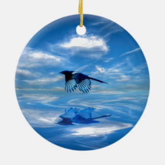 Flying Blue Magpie & Reflected Sky Christmas Ornament