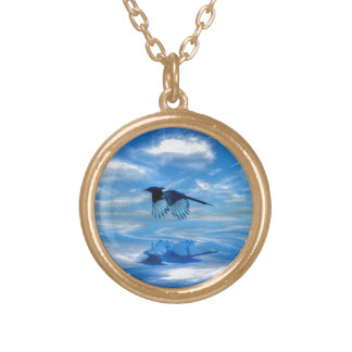 Flying Blue Magpie & Reflected Sky Gold Plated Necklace