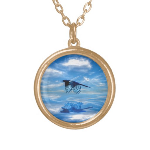 Flying Blue Magpie & Reflected Sky Necklaces