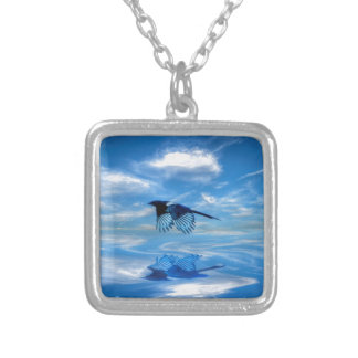 Flying Blue Magpie & Reflected Sky Silver Plated Necklace