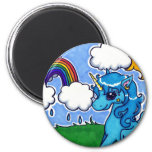 Flying Blue Unicorn with rainbow 6 Cm Round Magnet