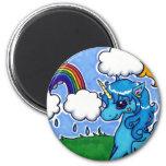 Flying Blue Unicorn with rainbow 6 Cm Round Magnet