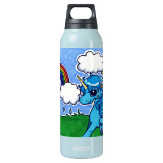 Flying Blue Unicorn with rainbow Insulated Water Bottle