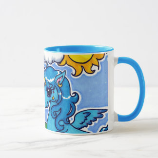 Flying Blue Unicorn with rainbow Mug