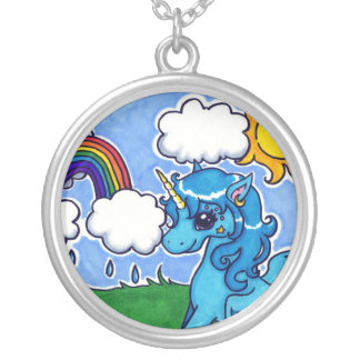 Flying Blue Unicorn with rainbow Silver Plated Necklace
