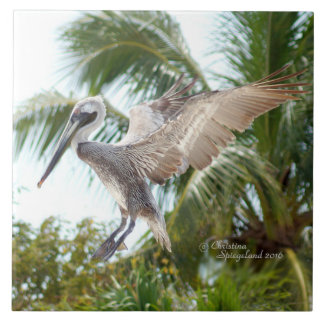 Flying Brown Pelican Landing Tile