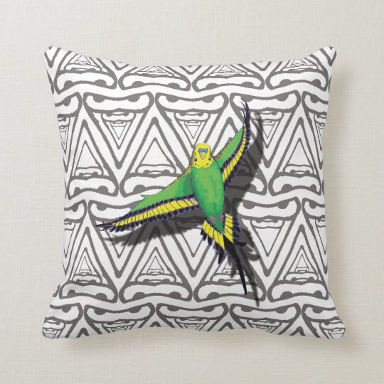 Flying Budgie Bird Cushion Pillow