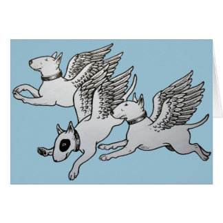 Flying Bull Terriers Greeting Card