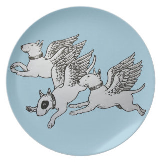 Flying Bull Terriers Plates