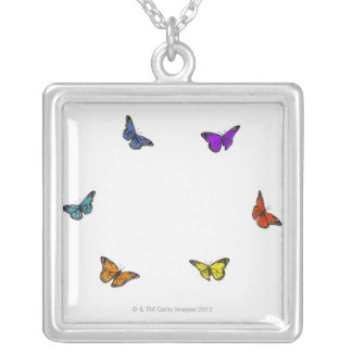 Flying butterflies silver plated necklace