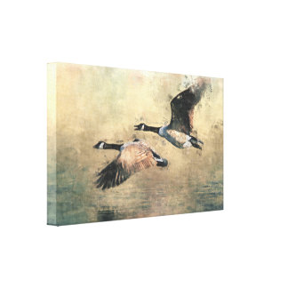 Flying Canada Geese Gallery Wrap Canvas