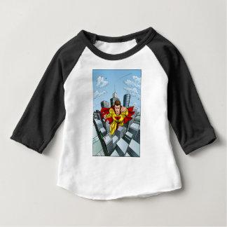 Flying Caped Superhero City Scene Baby T-Shirt