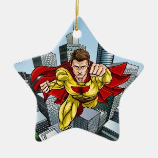 Flying Caped Superhero City Scene Ceramic Star Decoration