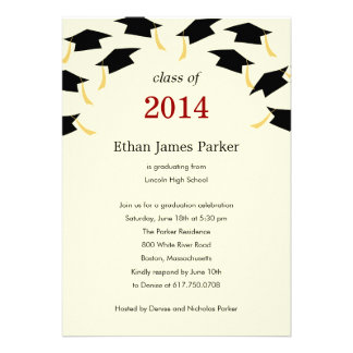 Flying Caps Graduation Party Invitation Custom Invitation