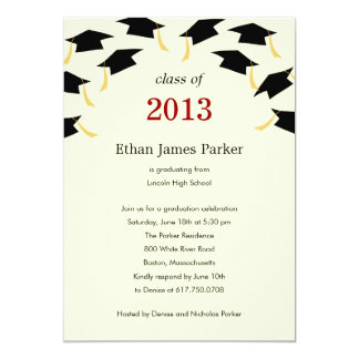 Flying Caps Graduation Party Invitation Personalized Announcements