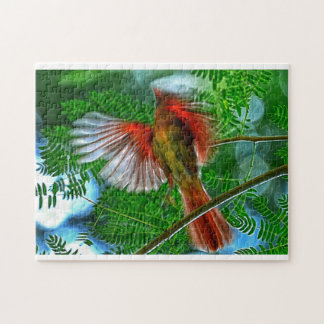 Flying Cardinal Photo Puzzle